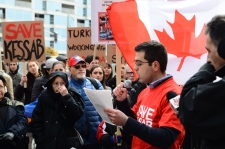 Hundreds gather outside Turkish Consulate