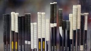 Hockey sticks in Sochi, Russia. (AP Photo/Mark Humphrey)