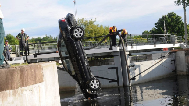 A car found at the bottom of an eastern Ontario canal with the bodies of three sisters and their father's first wife suspended in the water inside seemed to trace a very deliberate path, a murder trial heard Friday, Oct. 21, 2011. (Shafia Trial Evidence Photo / THE CANADIAN PRESS)