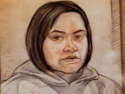 Donna Irving, charged with second-degree murder in the death of Caitlin Sampson, is seen in this courtroom sketch.