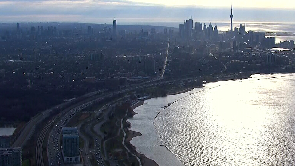 The Gardiner Expressway winds into downtown Toronto, as viewed from the CTV News chopper, Friday, April 25, 2014. Upgrades to the aging expressway will cause distruptions to December 2016.