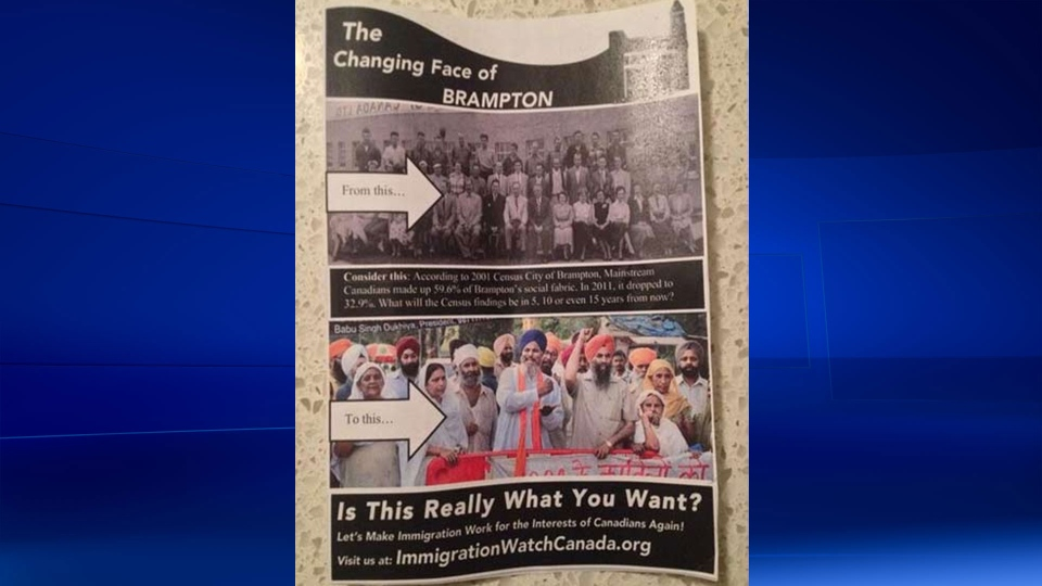 Peel Regional Police say they're 'looking into' a flyer being distributed in Brampton, Ont. by Immigration Watch Canada. (@janjanmcbinx / Twitter)