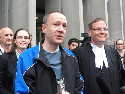 Byron Sonne talks to media outside court in Toronto, Wednesday, May 18, 2011. (THE CANADIAN PRESS/Pat Hewitt)