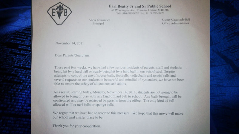 "An east-end Toronto public school has banned ""hard balls"" on school property for safety reasons, Nov. 15, 2011."