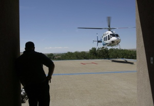 A Bell 429 helicopter lands on a hospital landing pad following a test flight, Aug. 16, 2011 in Farmington, N.M. (The Daily Times / Brandon Iwamoto)