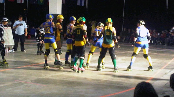 Team Australia prepares to take on Team Sweden at the first-ever Roller Derby World Cup in Toronto on Saturday, Dec. 3, 2011. (Ashley Rowe / CTV News)
