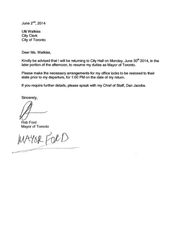 Rob Ford files letter to city clerk