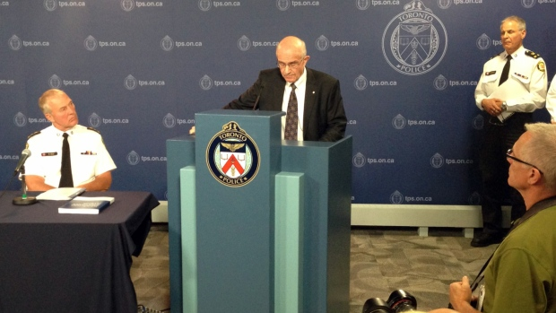 Frank Iacobucci reads from a report in Toronto on Thursday, July 24, 2014. (Francis Gibbs / CTV News)