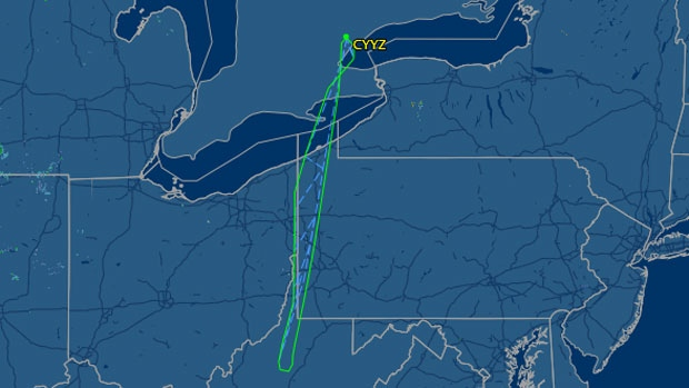 The flightpath of Sunwing flight 772 is shown on Friday, July 25, 2014. (flightaware.com)