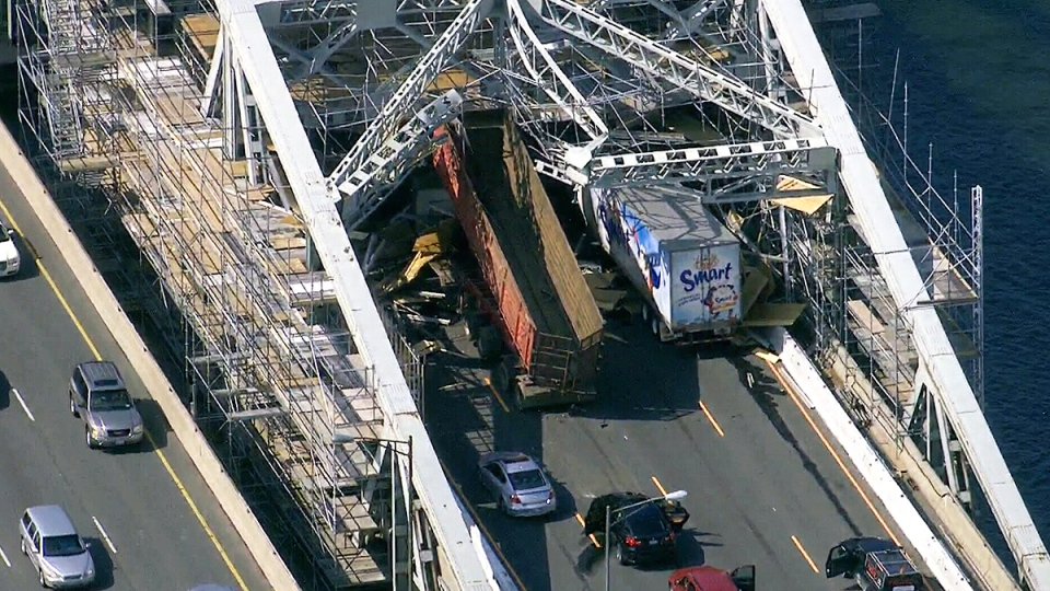 An aerial view of the Burlington Skyway after a truck struck scaffolding, shutting down all Toronto-bound traffic, Thursday, July 31, 2014.