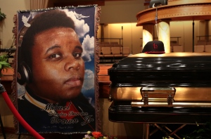 The casket of Michael Brown sits inside Friendly Temple Missionary Baptist Church awaiting the start of his funeral on Monday, Aug. 25, 2014. (St. Louis Post Dispatch / Robert Cohen)
