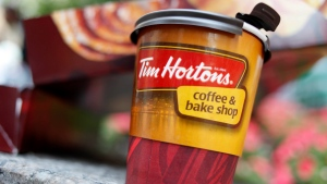 A Tim Hortons coffee cup is seen in New York on Wednesday, July 22, 2009. (AP / Seth Wenig)