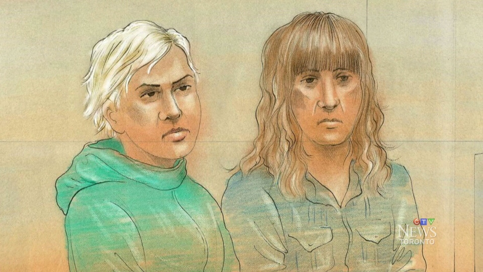 Lilia Ratmanski, 25, of Whitby, Ont., left, and Milana Muzikante, 26, of Vaughan are shown in a court sketch.
