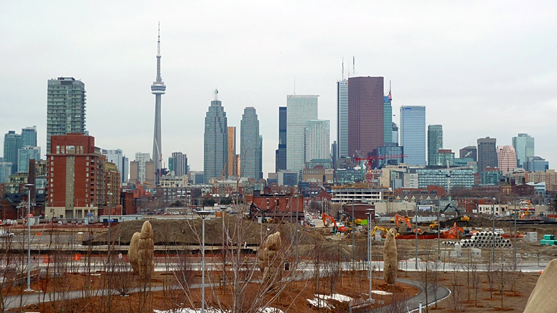 Looking west towards the downtown core. To the lower right, one can see some of the preparatory construction work underway for the 2015 Pan-Am Games' athlete's village. (Bill Doskoch/CTV Toronto)