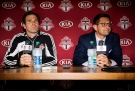 Toronto FC general manager Tim Bezbatchenko, right, names Greg Vanney, left, as head coach of the club replacing Ryan Nelsen during a press conference in Toronto on Sunday, August 31, 2014. (The Canadian Press / Michelle Siu)