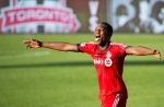 Toronto FC defender Doneil Henry reacts at game end after scoring the game winning goal against the Columbus Crew during second half MLS soccer action in Toronto on Saturday, May 31, 2014. (The Canadian Press/Nathan Denette)