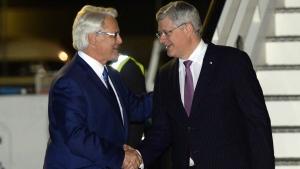 Prime Minister Stephen Harper arrives in London