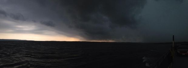 Storm clouds are shown over Georgian Bay on Friday, September 5, 2014. (Chief Roland Monague/Beausoleil First Nation)