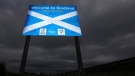 A sign welcoming motorists to Scotland at Berwick Upon Tweed, England, Monday, Sept. 8, 2014. (AP / Scott Heppell)
