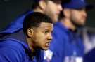 Toronto Blue Jays starting pitcher Marcus Stroman watches from the dugout in the fifth inning of a baseball game against the Baltimore Orioles in in Baltimore on Monday, Sept. 15, 2014. (AP / Patrick Semansky)