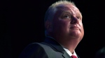 Mayor Rob Ford pauses while participating in a mayoral debate in Toronto on Tuesday, July 15, 2014. (Darren Calabrese / THE CANADIAN PRESS)