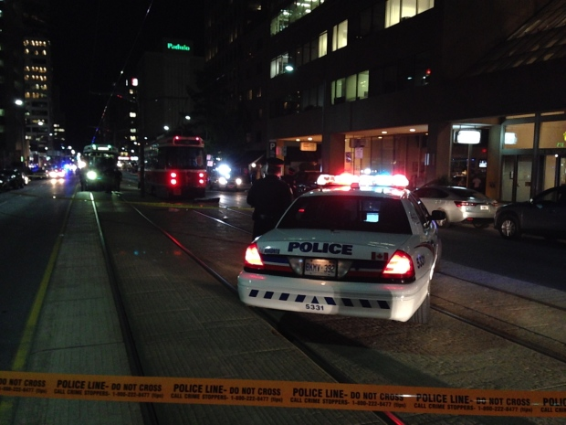 A pedestrian was struck and killed by a streetcar on St. Clair Avenue West on Thursday, Sept. 18, 2014. (CTV Toronto / Scott Lightfoot)