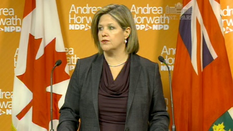 NDP Leader Andrea Horwath says the province cannot make reckless spending cuts on necessary public services while handing out tax cuts to rich corporations.