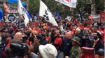 Demonstrators protest against the proposed pension plan changes in Montreal, Saturday, Sept. 20, 2014. (Kevin Gallagher / CTV Montreal)