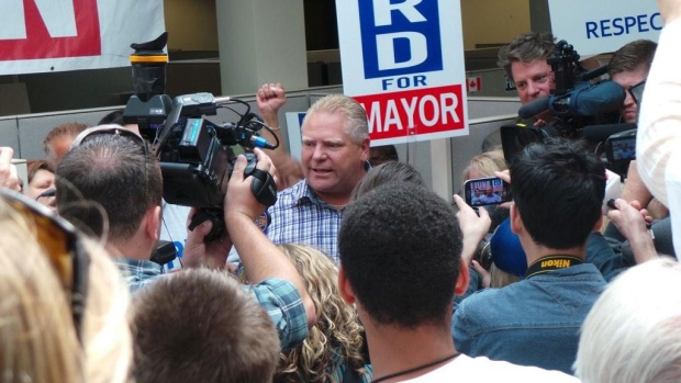 Toronto mayoral candidate Doug Ford launched his campaign by canvassing door-to-door in Etobicoke on Saturday, Sept. 20, 2014. (Farah Nasser / CP24)