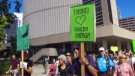 Hundreds rallied to draw attention to climate change in downtown Toronto on Sunday, Sept. 21, 2014.