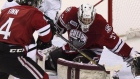 Guelph Storm goalie Justin Nichols gets his pad in the way of London Knights Bo Horvat during first period action in Game 6 of the Memorial Cup CHL hockey tournament, in London, Ont., Wednesday, May 21, 2014. (Dave Chidley / THE CANADIAN PRESS)