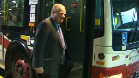 Mayor Rob Ford rides the TTC in an attempt to push for subways to be at the centre of the city's transit strategy plan on Friday, March 16, 2012.