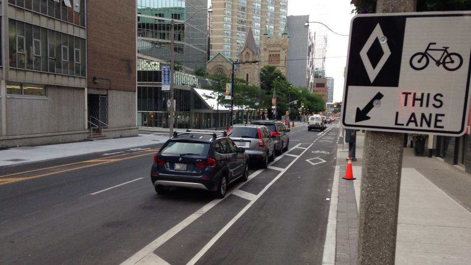 A bike lane is shown on Simcoe Street in Toronto on Friday, July 25, 2014. (George Stamou / CTV Toronto)