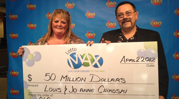 Jo-Anne and Louis Chikoski celebrate their $50-million lotto win on Monday, April 2, 2012.