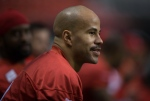 Calgary Stampeders running back Jon Cornish sits on the bench during Grey Cup practice in Vancouver, B.C., on Wednesday November 26, 2014. (Darryl Dyck / THE CANADIAN PRESS)