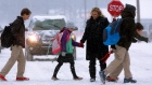 A crossing guard helps school children navigate a snow covered street in traffic during a snowstorm Tuesday, Feb. 4, 2014, in Springfield, Ill. (AP Photo/Seth Perlman)