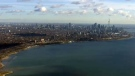 The Toronto skyline is seen from the CTV News chopper on Friday, Nov. 28, 2014.