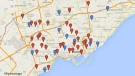 Map of Toronto's outdoor rinks