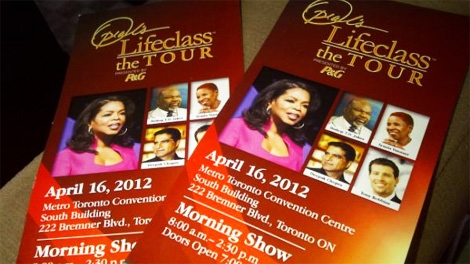 Tickets to the Toronto performance of 'Oprah's Lifeclass: The Tour,' are seen on Monday, April 16, 2012.