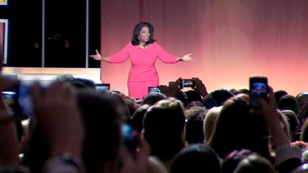 Oprah Winfrey offers new-age wisdom and advice in Toronto, Monday, April 16, 2012.