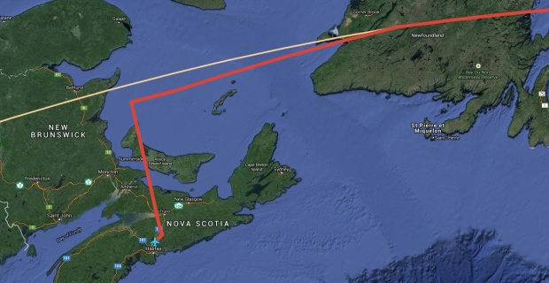 This map shows how Air Canada Flight 869 diverted to Halifax (flight path in red) during a transatlantic flight from London tor Toronto on Wednesday Dec. 17, 2014.