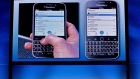 BlackBerry's director of marketing and enterprise Jeff Gadway demonstrates the company's new phone the BlackBerry Classic, during a news conference, Wednesday, Dec. 17, 2014, in New York. (AP / Bebeto Matthews)