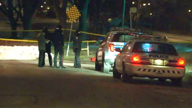 Police are on the hunt for two suspects after a woman was robbed and stabbed while walking through Benner Park in North York, Thursday, Dec. 18, 2014.