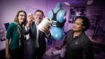 Professor Gordon Wallace and his team are shown with their Bionic Bra invention. (University of Wollongong/Bionic Bra)