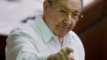 Cuba's President Raul Castro points to the press during the closing of the legislative session at the National Assembly in Havana, Cuba, Saturday, Dec. 20, 2014. (AP / Ramon Espinosa)