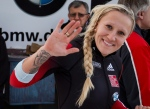 Canada's Kaillie Humphries, waves after competing in the men's World Cup 4-man bobsled event in Calgary, Saturday, Dec. 20, 2014. (THE CANADIAN PRESS/Jeff McIntosh)