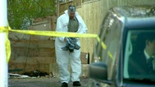 York Region police investigate a stabbing death in Richmond Hill, Wednesday, April 25, 2012.