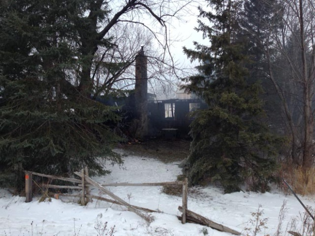 An early morning fire destroyed a home in Huron County, Ont. on Friday, Jan. 23, 2015. (Scott Miller / CTV London)