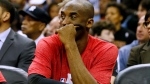 In this Wednesday, Jan. 21, 2015, file photo, Los Angeles Lakers guard Kobe Bryant sits on the bench during the first half of an NBA basketball game in New Orleans. (Jonathan Bachman / AP Photo)