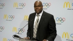 In this Jan. 13, 2012, file photo, Don Thompson, McDonald's President and Chief Executive Officer, speaks during a news conference in Innsbruck, Austria. McDonald's Corp. has tapped Steve Easterbrook as its new president and CEO to succeed Thompson. (AP / Kerstin Joensson)